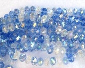 Waterfall Crystal Designer Glass AB Faceted Rondelle Beads 8x5mm Pack Of 2 Strands