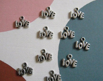 Mini Love Charms, Antique Silver, 14x9x1mm, 1.5mm Hole, Pack Of 20