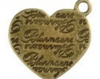 Antique Brass Vintage Love, Heart Charms Pack Of 6