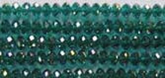 Green Zircon Designer Glass Crystal Rondelle Faceted Beads 6x4mm Pack Of (2) 8 Inch Strands 6x4mm