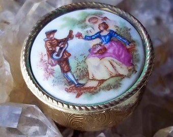 Vintage Pillbox with Painted Porcelain Lid from Italy