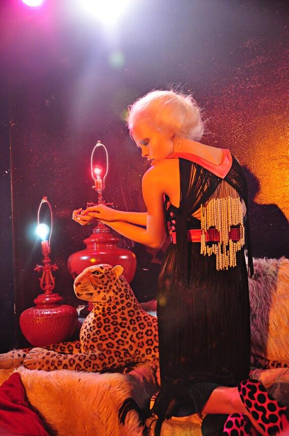 TrunkShow by Misty Greer Black & Pink Silk Cocktail Dress w Hand Beaded Skull Fringe