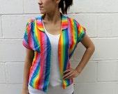Vintage 80s Rainbow Open Front Blazer Top, S-M