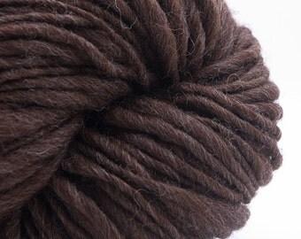 Pure Brown, HandSpun Naturally Brown Shetland Single Yarn, Bulky, 200 yards