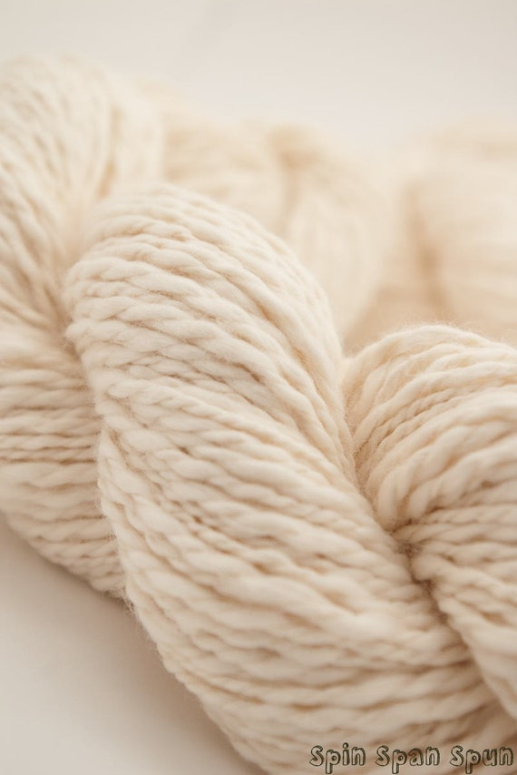 FREE SHIPPING, Just natural Organic Cotton Yarn, White, Bulky, 110 yards, unbleached and undyed.