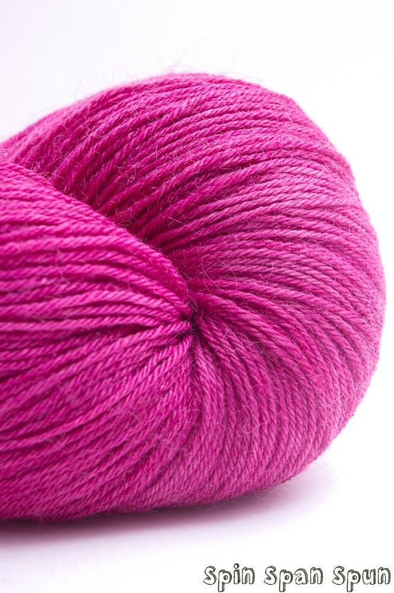 Fushia, Naturally Hand Dyed Sock Yarn, Wool, Silk and Bamboo, 450 yards, sock weight /DK