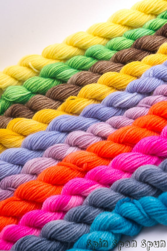 Super Minis, 30 mini sock skeins, Set of 30 different semi-solid colours, perfect for making Hexipuffs, Beekeeper's Quilt, toys, and more.