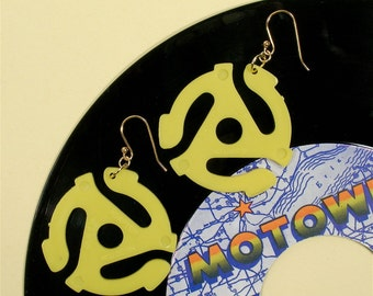 Bright Yellow 45 rpm Record Adaptor Earrings Symbol for Music Enthusiast Adapter