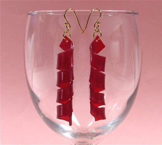 Red Colored Vinyl Record Album Spiral Earrings