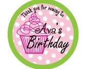 Personalized Stickers, Cupcake, Polka dots, Birthday, Address, Children,Favor stickers,Labels, Personalized Sticker Labels Set Of 24