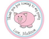 Personalized Stickers, Barnyard friends,  Pig,  Farm Birthday, Children, Party, Favor stickers, Personalized Stickers Set of 24