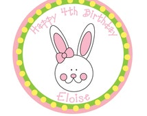 Personalized Sticker, Easter, Easter Bunny, Treat bag tag, Spring, Kids Party, Birthday, Favor bag, Personalized Stickers Set of 24