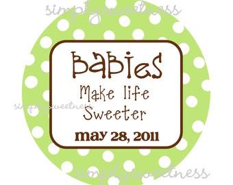 Personalized Stickers, Monogram,Polka dots,Kids, Baby, Party, Favor stickers,Personalized Sticker Labels Set of 24