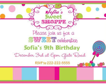 Personalized Invitations, Candy Shoppe, Sweet Shop, Birthday, Sweet Treat, Boys, Girls, Candy, Lollipops, Gumballs, Set Of 12