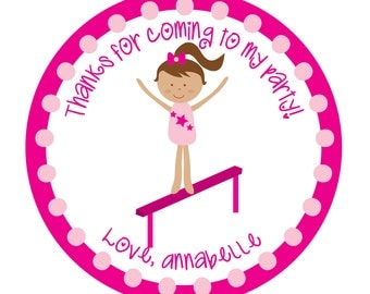 Personalized Stickers, Gymnastics, Tumbling party, Dance party,  Stickers Set of 24