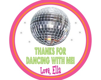 Personalized Stickers, Disco theme, disco party, Dance party,  Stickers Set of 30