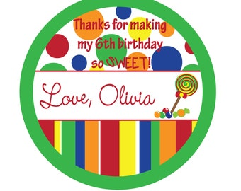 Birthday,Polka dots, Birthday, Kids, Party, Favor stickers, Personalized Stickers Set of 60