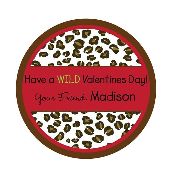 Personalized Stickers, Cheetah, Valentine Stickers,Treat bag labels, Valentines Day, Labels, Seals,Children, Kids, Favor, Set of 24