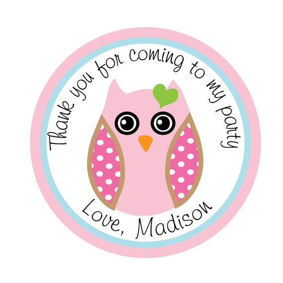 Owl, Pink, Personalized Stickers, Gift, Polka dots, Birthday,  Party, Favor stickers,Labels, Tags,  Personalized Sticker Labels Set of 24