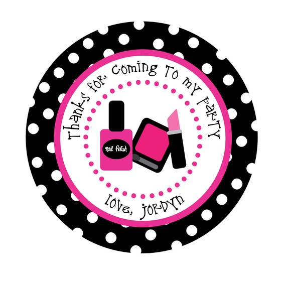 Personalized stickers spa party birthday nail by for Stickers salon