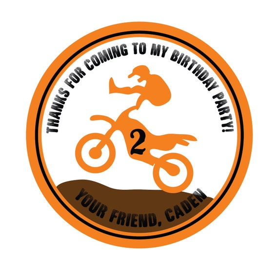 Motocross, Dirtbike, Birthday,Children, Kids,Party, Favor stickers,LabelsTags,Personalized Stickers set of 24