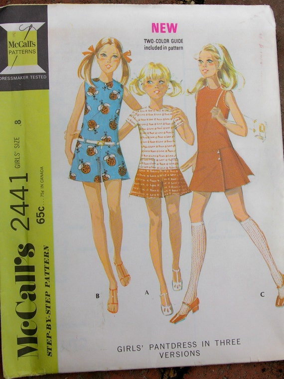 SALE  - Vintage 1970 Girls'  Pantdress Pattern size 8  McCalls 2441