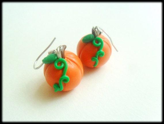 sale 60 pumpkin earrings by karoger on etsy