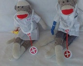Sock Monkey  Doctor and Nurse Plush Rockford Red Heel  2 sock monkeys   personalized dressed with accessories  and certificate