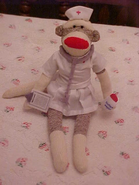 Super Sale Nurse sock monkey new original classic will personalize free also comes with certificate
