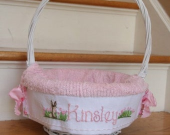 Custom Small Basket and heirloom  liner 8 inch Girls Hand embroidered-Taking orders for 2018