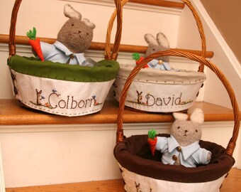 Boys Custom 13-14 inch LARGEHeirloom Easter Baskets and liner Hand embroidered -Taking orders for 2018