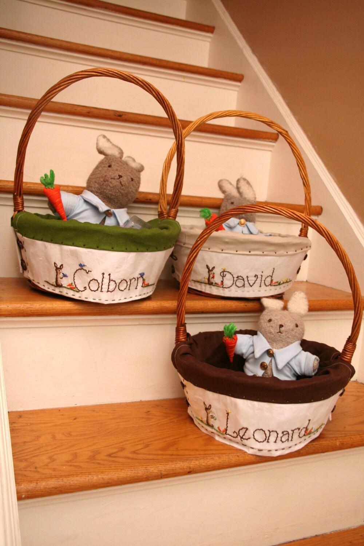 Boys custom 13 14 inch largeheirloom easter baskets and liner - Custom made easter baskets ...