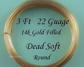 3 Ft 22g gauge ga g 14K Gold Filled  Round Wire- Dead Soft