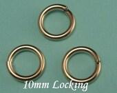 10mm 14k Gold Filled Locking Jump Ring, 16 gauge aka Jump Locks, 8 PCS 16 gauge ga g, Secure
