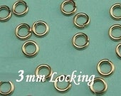 50 Pcs 22 gauge ga g, 3mm-14k Gold Filled Locking Jump Ring, aka jump locks,