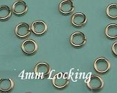 100 pcs BULK, 20 gauge ga g, 4mm 14k Gold Filled Jump Rings, aka jump locks, secure