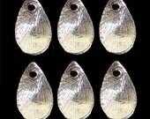 Silver Brushed Teardrop Wavy Beads 6 pcs Sterling Silver 13x8mm