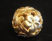 Vermeil Round Floral Bead-Bali 24k gold over 925 Sterling Silver 12x12 mm,hole 1.2mm