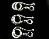 Sterling Silver Clasps Bali Oxidized Hook Clasp, 3 PC -12 x 6 mm, SC530