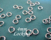 Sterling Silver Locking Jump Rings 20 pcs 4mm 20 gauge ga g, aka Jump LOCKS