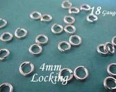 50 Pcs BULK 18 gauge ga g, 4mm Sterling Silver LOCKING Jump Ring, aka jump locks, 925 Sterling Silver