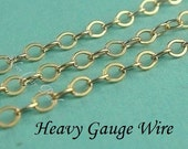 SALE..14k Gold Filled Flat Cable Chain, 10 Ft, HEAVY Guage Wire, UPGRADE- 2x1.6mm