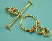 Vermeil Toggle Clasps Bali Sterling Silver Toggle- 12mm, ST500