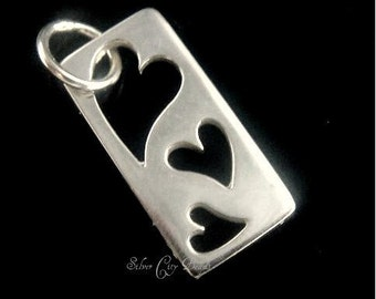 Sterling Silver Rectangle Heart Cut Out Tag- 17.7 x 7