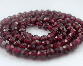 Garnet Faceted Rondelles AAA 3-4mm 7 inch strand