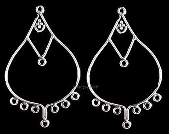 Bali Sterling Silver Chandelier Hoops, BRIGHT -  41x25mm 1 pair