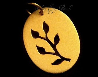 Vermeil Branch Charm Charms, Thai 24k Vermeil Cut Out Branch Charm-  20 x 15