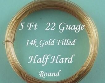 22 g gauge ga, 5 Ft, 14k Gold Filled Round Wire, Half Hard