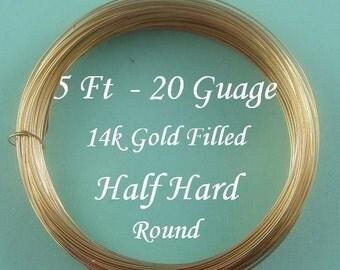 5Ft- 20g 14k Gold Filled Round Wire,  Half Hard