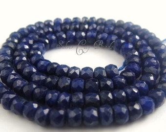 AAA Blue Sapphire Rondelles - Faceted Rondelle WHOLESALE Beads, September Birthstone, 3 inch  Genuine -3-3.5mm